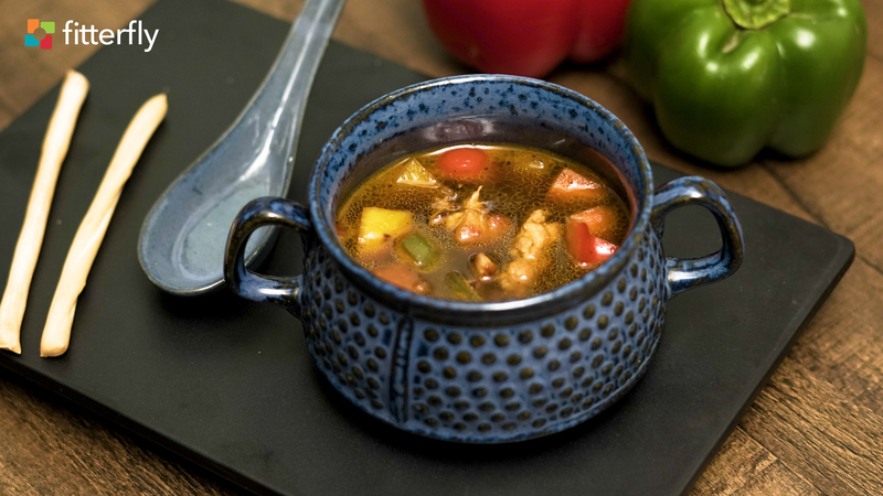 Chicken Vegetable Thick Soup With Butter