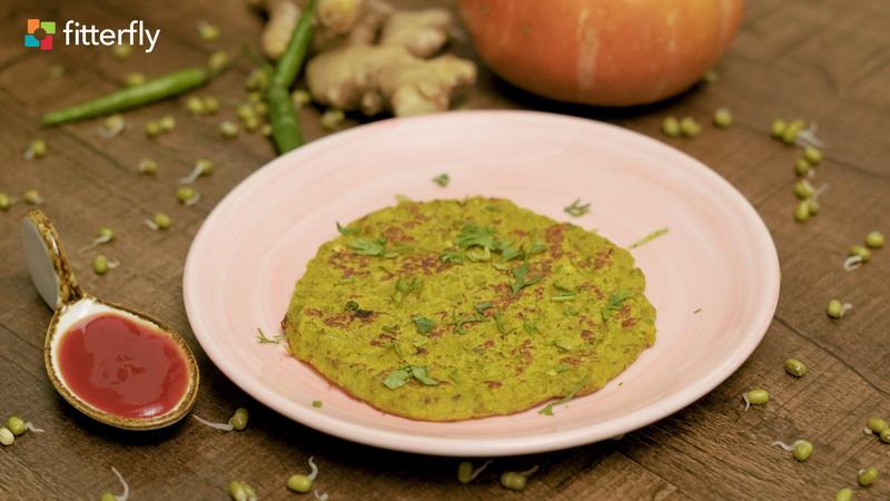 Green Moong Sprouts Besan Pumpkin Cheela