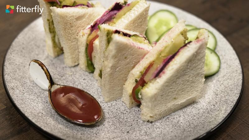 White Bread Vegetable Cheese Sandwich