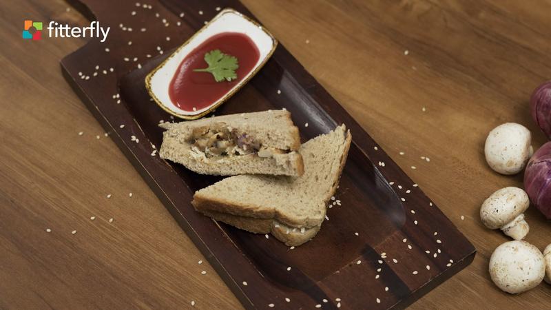 Brown Wheat Bread Mushroom Cheese Sandwich