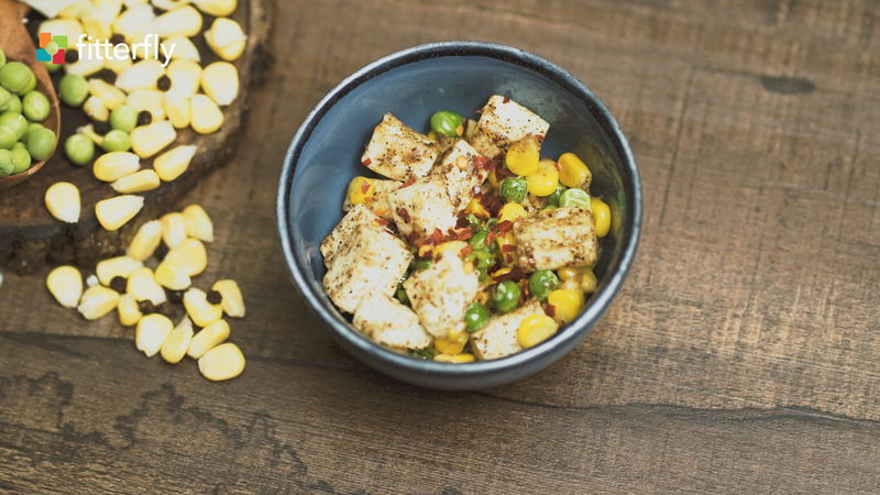 Corn Peas Paneer Salad With Butter