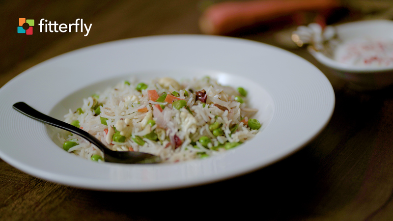 Vegetable Pulao With Soy Curd Cucumber Raita