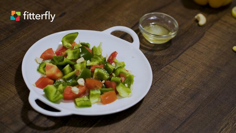 Tomato Capsicum Salad With Olive oil Vinegar Dressing