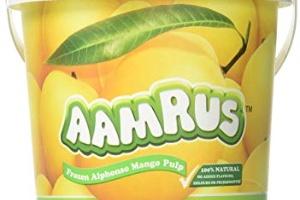 Aamrus frozen kesar mango pulp, jain farm fresh