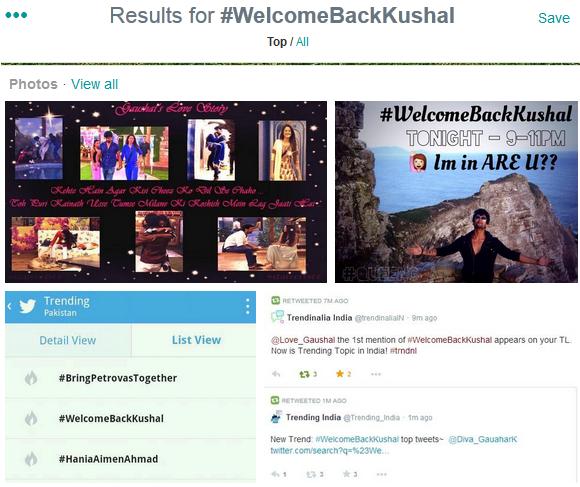#WelcomeBackKushal Trends On Twitter
