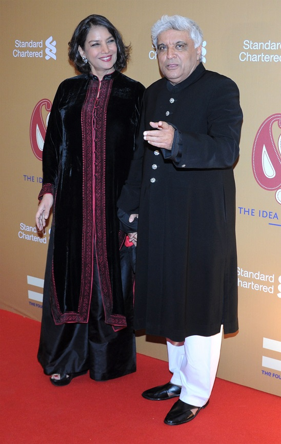 Bollywood actor Shabana Azmi and Lyricist Javed Akhtar during a charity auction 'The Idea of India at a five star hotel in Mumbai, India on 22 February, 2014. Charity was hosted by Rahul Bose. (Pictures Courtesy: Ashish Vaishnav/ Indus Images)