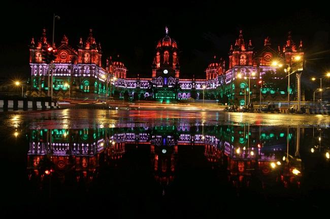 Chatrapati Shivaji Terminal Decorated With Tricolor