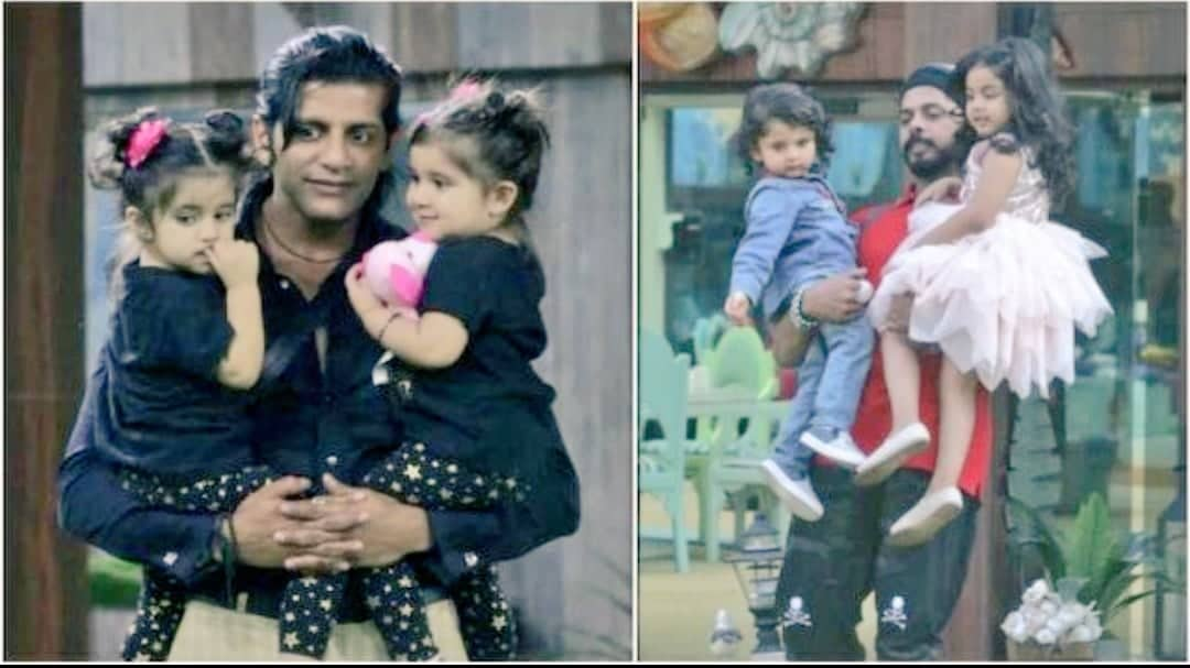 Karanvir Bohra With His Children Bella And Vienna (Left) And Sreesath With His Children Saanvika And Tezz (Right)