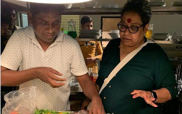 Madhu Sarkar On The Sets Of Coldd Lassi Aur Chicken Masala