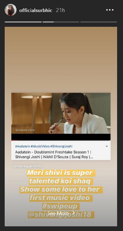 Surbhi Chandna's Story For Shivangi Joshi