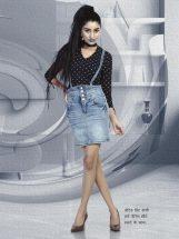 dotted print shirt with denim skirt