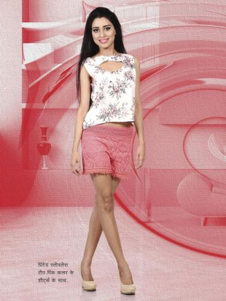 printed sleevless top with pink color shorts