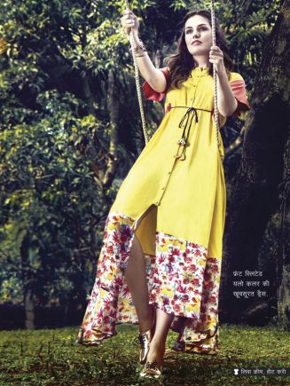 front sleeted yellow color dress