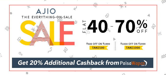 Ajio Everything On Sale :Flat 40 To 70 Percent Off