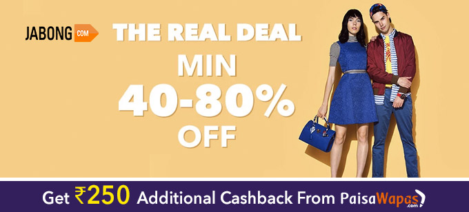 Get 40-80% off + extra Rs.500 OFF on selected products from Jabong