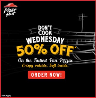 Don't Cook Wednesday | 50% off on 2 medium Pan pizza