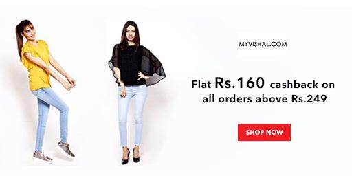Flat 50% Off + Rs.160 Cashback on Mens, Womens & Kids Fashion