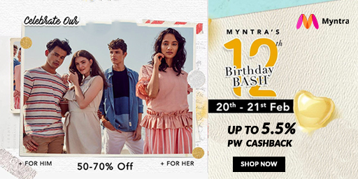 Myntra's 12th Birthday Bash | Upto 80% Off on Top Brands + Extra 10% Off on via ICICI Bank Cards