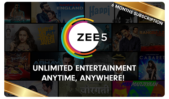 Zee5 E-Gift Card - Rs. 599 for 6 month subscription