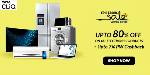 TataCliq EpicTronic Sale | Upto 80% Off + Extra 5% Instant Discount on All Prepaid Orders
