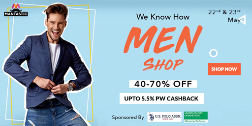Mantastic Festival | Flat 40-70% Off On Men Apparel + Extra 10% ICICI Discount