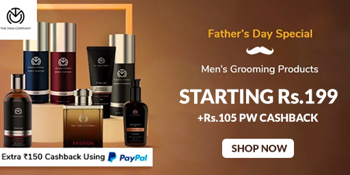 The Man Company Paypal Offer | Flat Rs.150 Off on Paypal + Rs.105 PW Cashback on All Selected Products