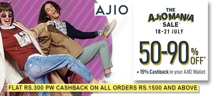 The AjioMania Sale | 50-90% Ajio Offers + Upto 15% Ajio Cash + Rs 300 PW Cashback on Orders above Rs 1500