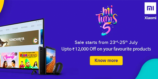Mi Turns 5 Upto Rs.12000 Off + Extra 5% Instant Discount For SBI Credit Card Users