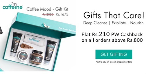 Upto 60% + Extra 15% Off on Mcaffeine Products + Rs 210 PW Cashback on All Orders