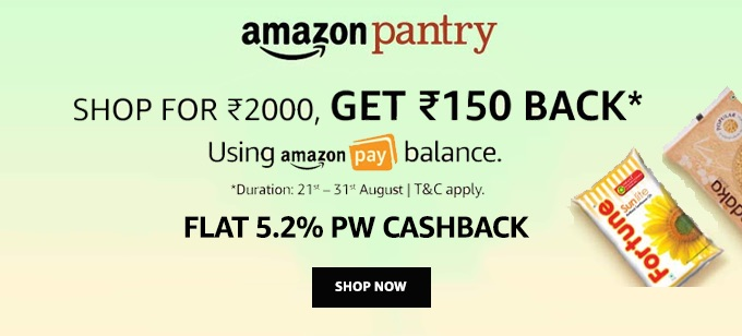 Get Rs.150 Cashback on Order of Rs.2000 (21-31 August)