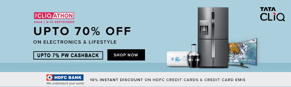 CliqAthon Sale | Upto 70% Off + Extra 10% Instant Discount On HDFC Credit Cards