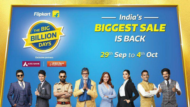 The Big Billion Days | Upto 80% Off + Extra 10% Discount On Axis Bank Credit & Debit Card/ ICICI Credit Card (29th Sept to 4th Oct)