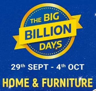 The Big Billion Days | Upto 50-90% Off on Home & Furniture + Extra 10% Off on Axis Bank Cards & ICICI Credit Cards (29th Sept-4th Oct)