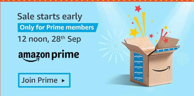 Great Indian Festival | Early Access for Prime Members at 12 noon, 28th Sept - Upto 80% Off + 10% Instant Discount/Bonus Offers via SBI Cards