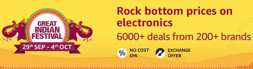 Great Indian Festival | Upto 60% Off on Electronics + 10% Instant Discount/Bonus Offers via SBI Cards (29th Sept - 4th Oct)