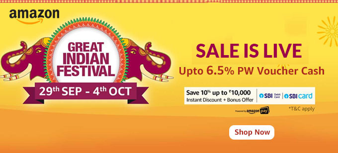 Great Indian Festival: Upto 80% Off + 10% Instant Discount/Bonus Offers via SBI Cards (29th Sept - 4th Oct)