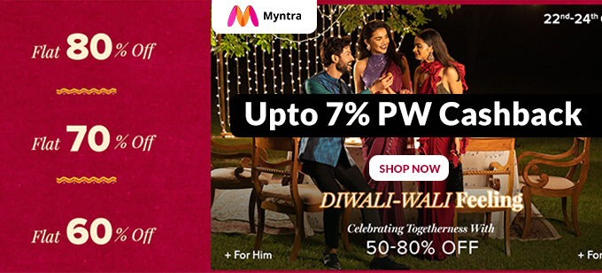 DIWALI SALE | Upto 50-80% Off on Men's & Women's Fashion + Extra 10% Cashback on HDFC Debit Cards (22nd-24th Oct)