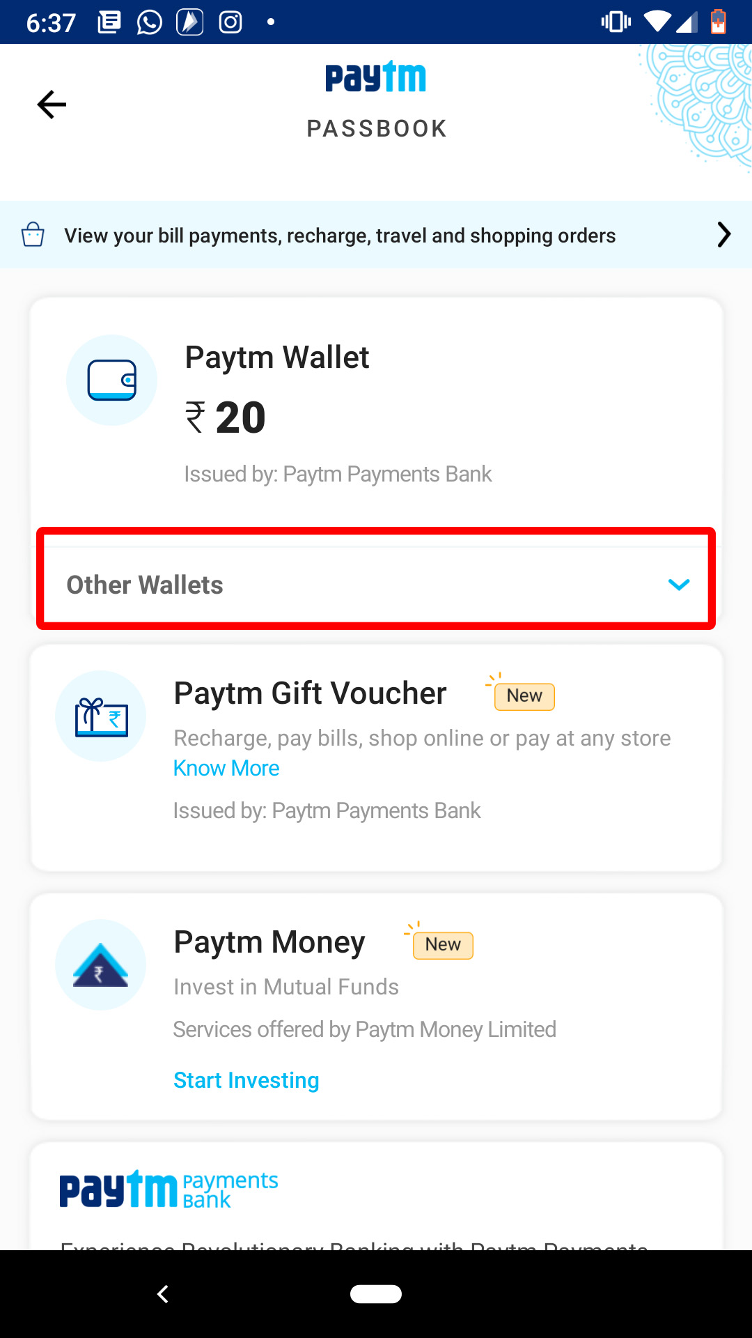 tap on other wallet