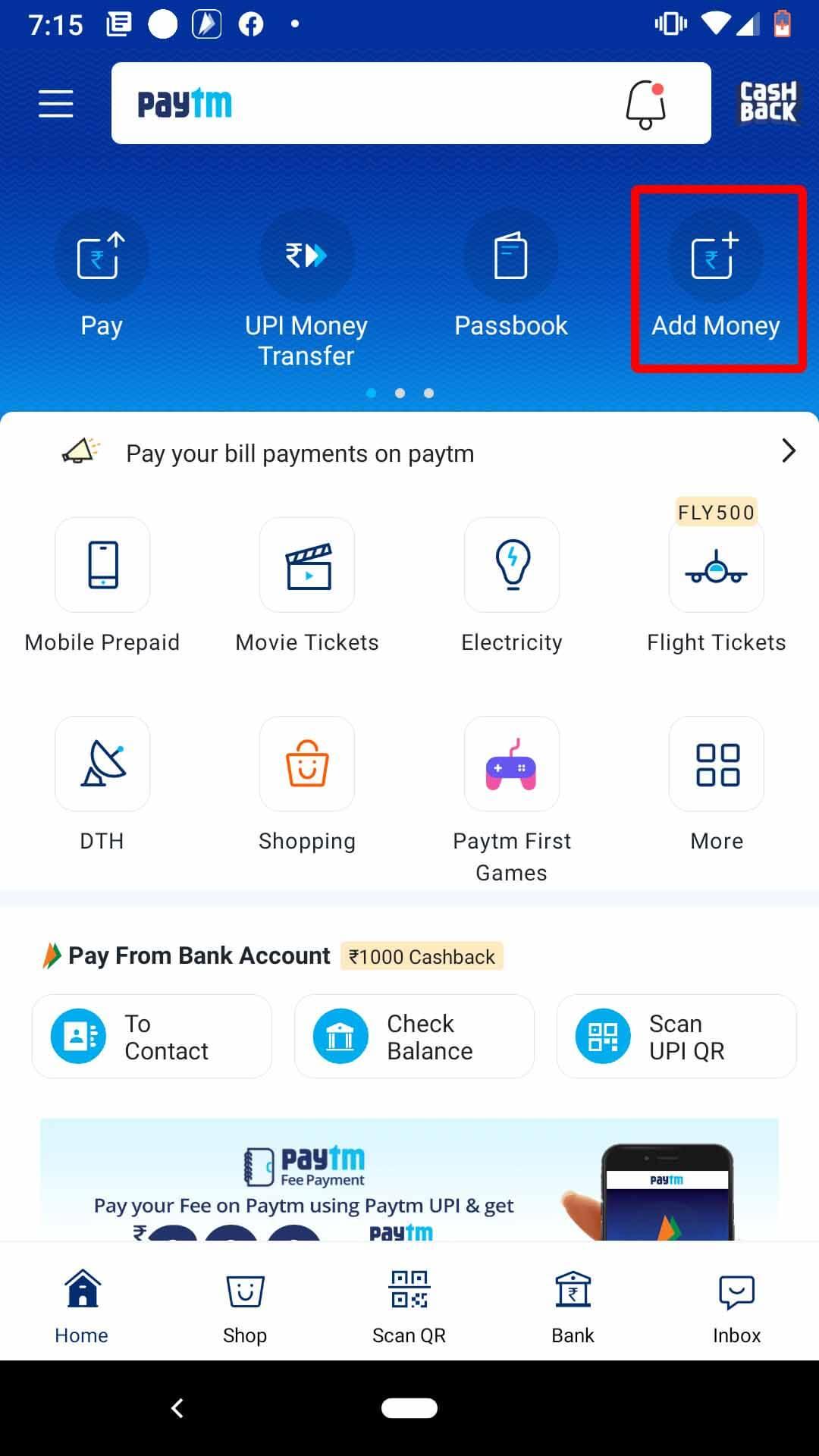 add money to you paytm