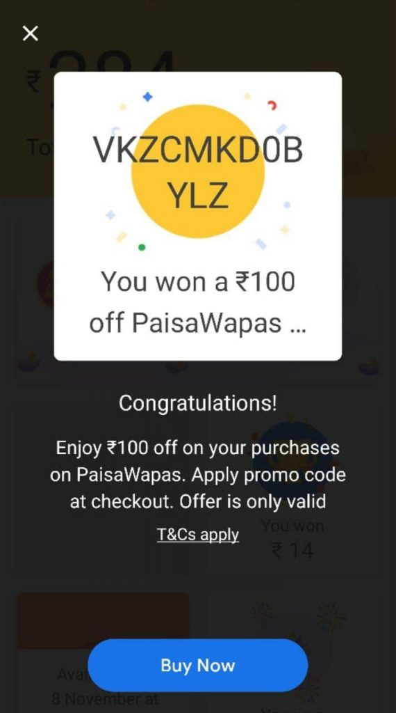 Google Pay PaisaWapas Unique (Reward) Code