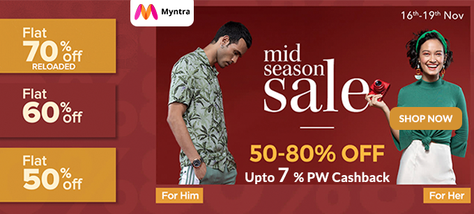 MID SEASON SALE | Flat 50%-80% Off + Flat Rs.150 Paytm CB, Starting at Rs.150