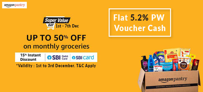 SUPER VALUE DAY | Upto 50% Off + Extra 15% (Upto Rs.600) SBI Discount on Grocery