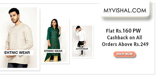 MV LOOT  Flat 50-70% Off on Men's Fashion + Rs.160 PW Cashback on orders Over Rs.249