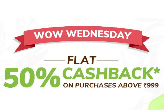 WOW WEDNESDAY | Flat 50% Cashback + Flat Rs.200 PW Cashback