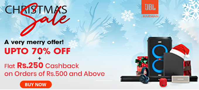 CHRISTMAS SALE | Upto 70% Off on JBL Products + Rs 250 Cashback on Orders over Rs 500