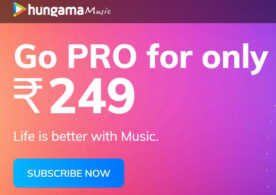 HUNGAMA Music GO PRO Subscription at Rs.249 + 10% PW Cashback