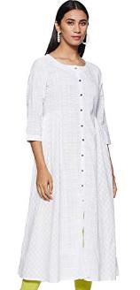 Varanga-white-Khari-print-flared-anarkali-Best-Kurtas-at-75%-off-amazon