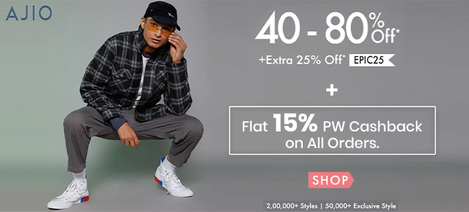 UPGRADE YOUR WARDROBE | Flat 40%-80% Off + Extra Upto 25% Off On Order Of Rs.2990 & Above
