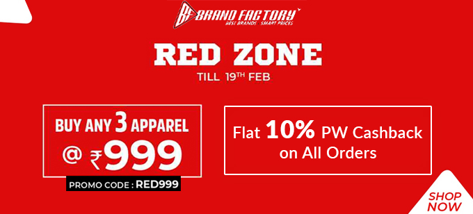RED ZONE SALE | Buy any 3 Apparel at Rs.999