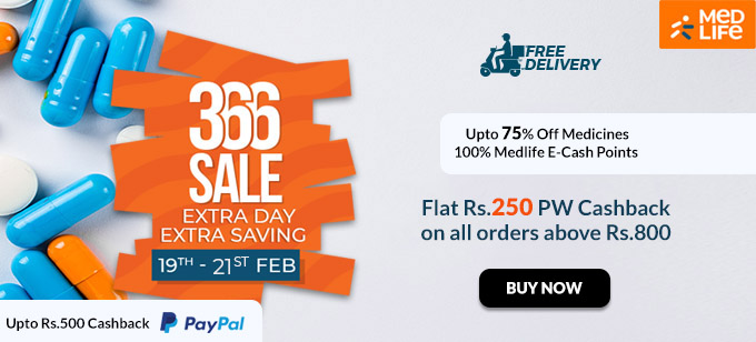 Upto 75% Off Medicines + 100% Medlife E-Cash Points + Upto Rs.500 PayPal Cashback (NEW USER)